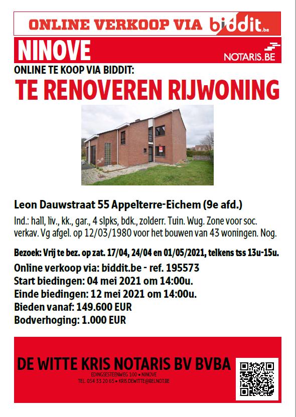 SHM Ninove-Welzijn cvba verkoopt:  Leon Dauwstraat 55 – 9400 Appelterre